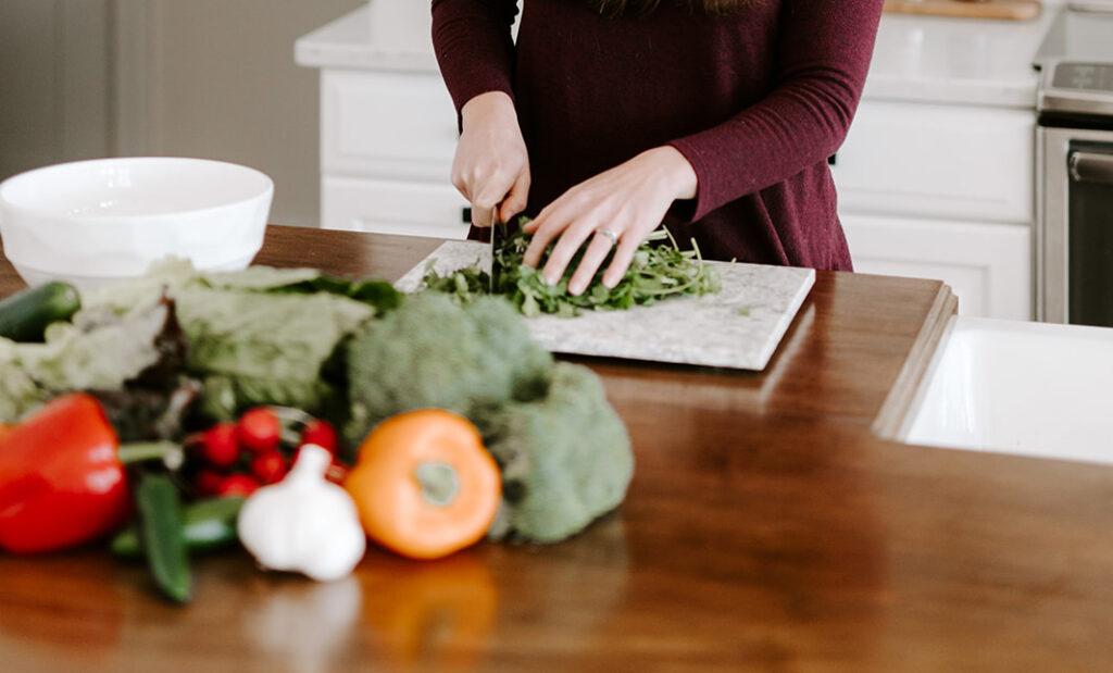 Chopping veggies for adrenal health