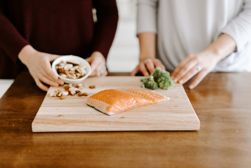 Winter foods salmon and nuts