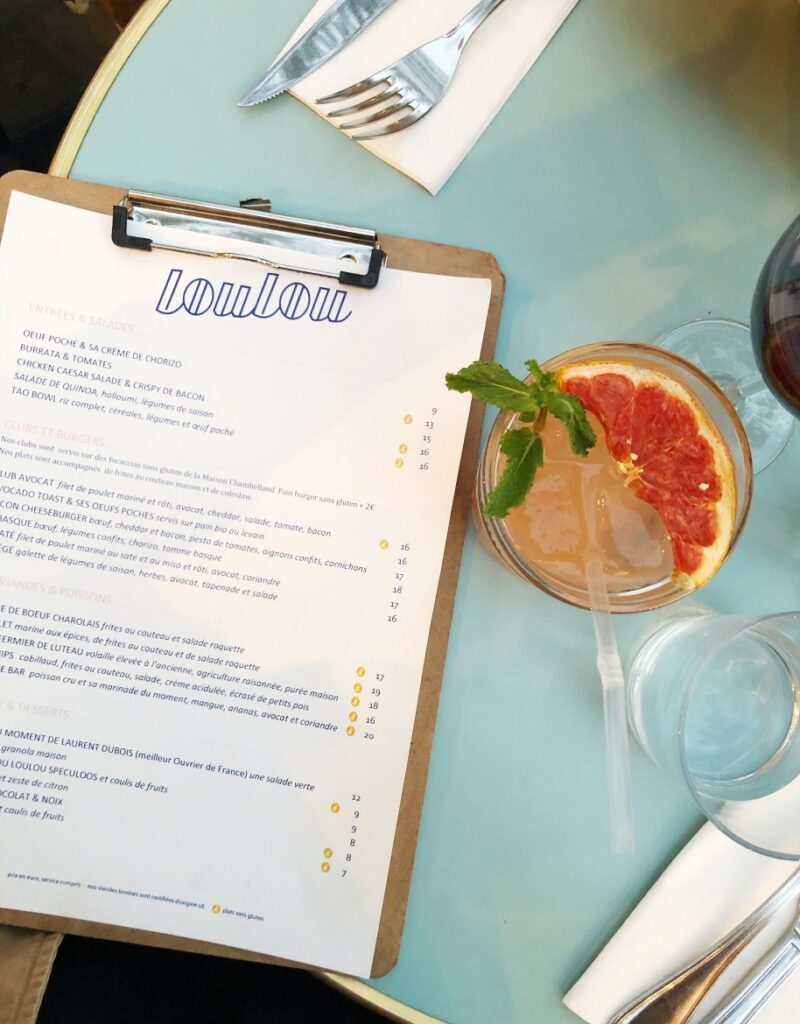 Alcoholic beverage and menu on table